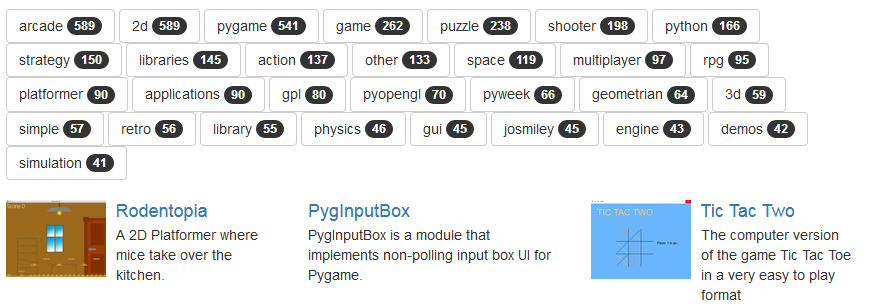PyGame: Pygame org – Find your game and improve it !